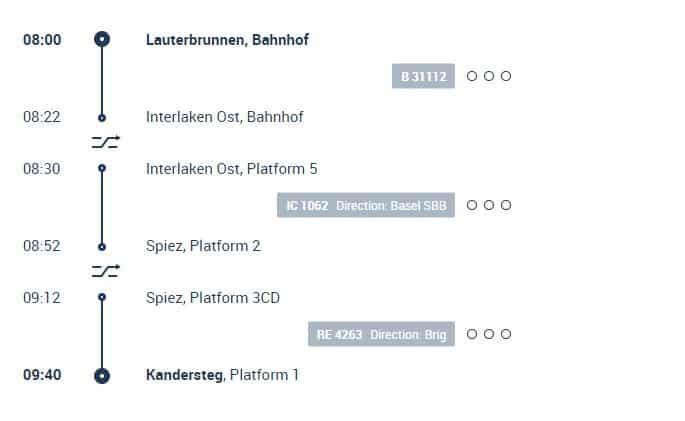 Lauterbruennen to Kandersteg Train